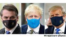 Jair Bolsonaro, Boris Johnson und Donald Trump mit Maske