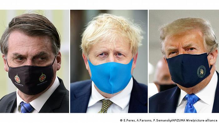 Jair Bolsonaro, Boris Johnson e Donald Trump de máscara anticorona