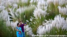 A couple takes a selfie in a catkins field amid the COVID-19 pandemic in Sarighat, on the outskirts of Dhaka, Bangladesh, October 2, 2020. REUTERS/Mohammad Ponir Hossain