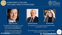 Nobelpreis für Physik 2020 Roger Penrose, Reinhard Genzel, Andrea Ghez (Youtube/Nobel Prize)