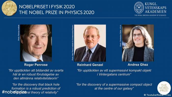 Лауреаты Нобелевской премии по физике 2020 года - Роджер Пенроуз, Райнхард Генцель и Андреа Гез