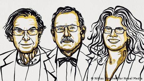 A Nobel Foundation illustration portraying, from left to right, Roger Penrose, Reinhard Genzel, and Andrea Ghez (Niklas Elmehed for Nobel Media)