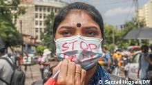 A female demonstrator protesting against incidents of rape and sexual violence in Bangladesh's capital, Dhaka