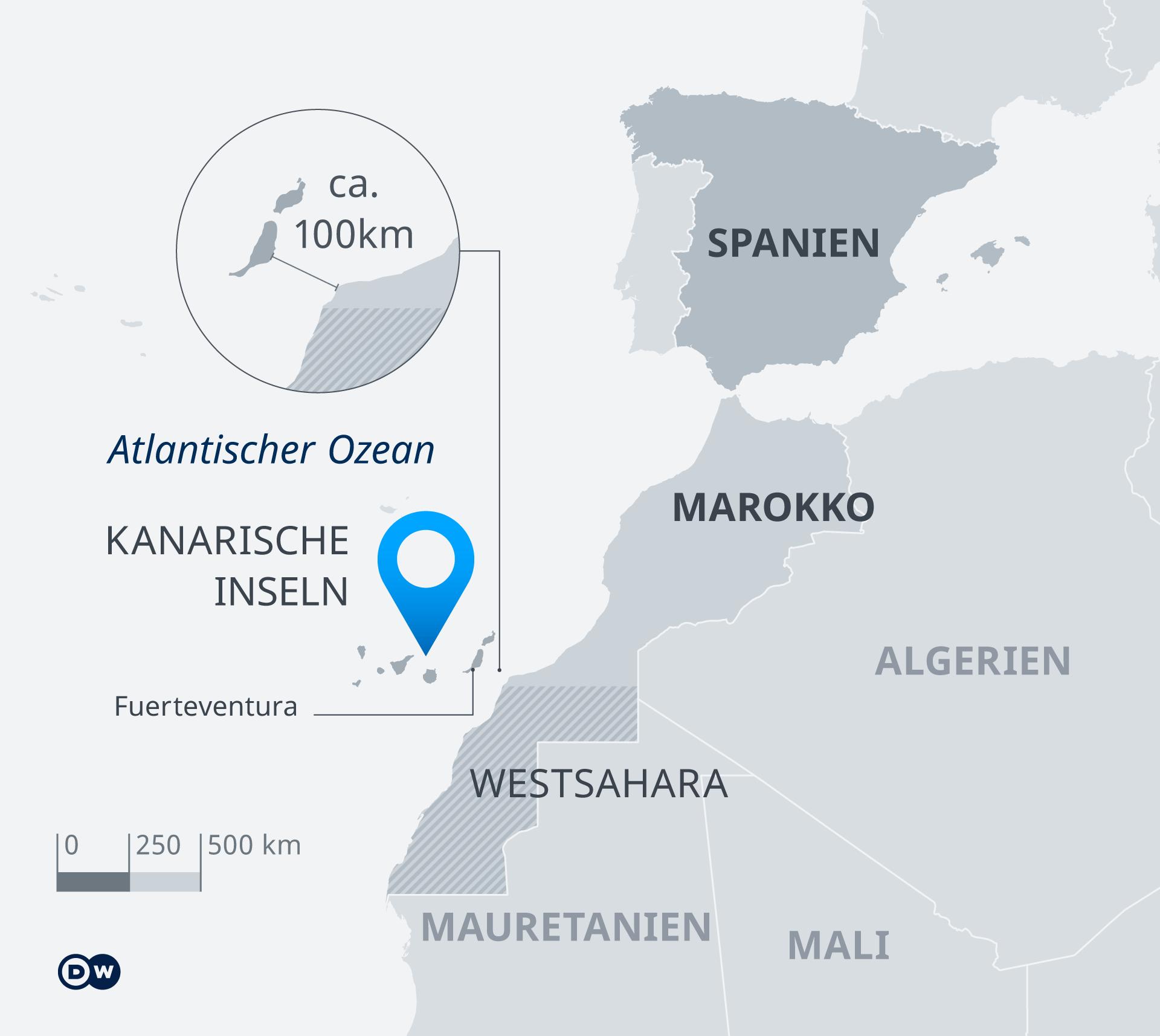 Mapa de las Islas Canarias y destino de escape DE