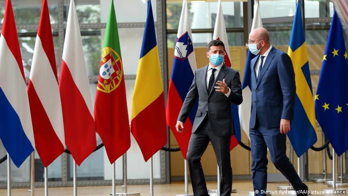 Володимир Зеленський та Шарль Мішель під час зустрічі у Брюсселі, 6 жовтня 2020