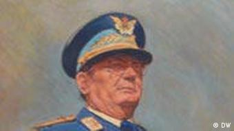 The leader of Serbia's Communist Party, Josip Joska Broz, stands in front of a portrait of Tito.