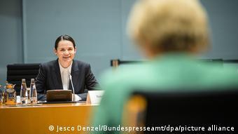 Светлана Тихановская и Ангелы Меркель на встрече в Берлине 6 октября