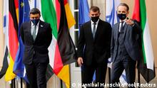 UAE Foreign Minister Sheikh Abdullah bin Zayed al-Nahyan, his Israeli counterpart Gabi Ashkenazi and German Foreign Minister Heiko Maas are pictured before their historic meeting at Villa Borsig in Berlin, Germany, October 6, 2020. REUTERS/Hannibal Hanschke/Pool