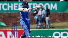 09.02.2020 India's Yashasvi Jaiswal plays a shot during the ICC Under-19 World Cup cricket finals between India and Bangladesh at the Senwes Park, in Potchefstroom, on February 9, 2020. (Photo by MICHELE SPATARI / AFP) (Photo by MICHELE SPATARI/AFP via Getty Images)