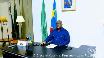 Le président Félix Tshisekedi ici lors d'une visite dans l'Est de la RDC