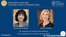 Nobelpreis für Chemie 2020 Emmanuelle Charpentier, Jennifer A. Doudna (Youtube/nobelprize)
