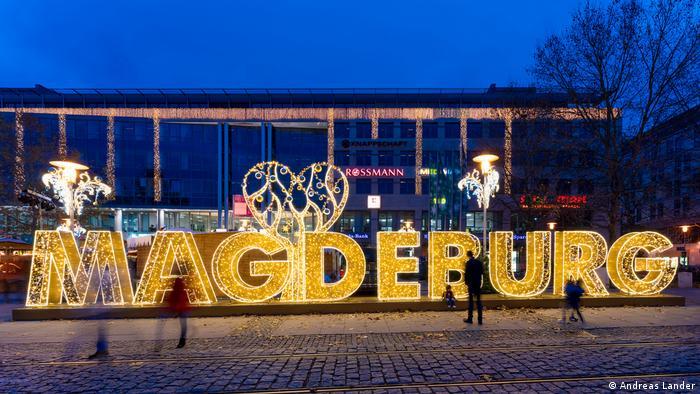 Illuminated lettering Magdeburg, Germany (Andreas Lander)