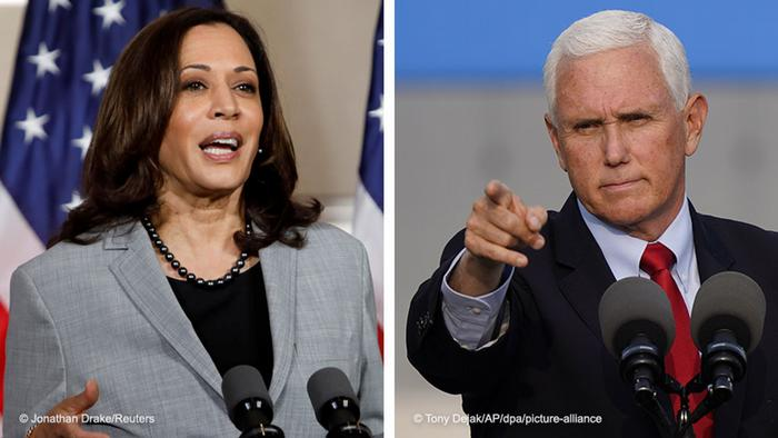USA Bildkombo zur Debatte zwischen Mike Pence und Kamala Harris