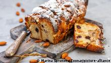 Bread pudding of buns, banana slices, cream cheese, eggs and cream sprinkled with powdered sugar on a wooden serving board, selective focus. | Verwendung weltweit