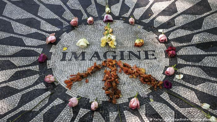 The Strawberry Fields memorial dedicated to John Lennon in New York City's Central Park