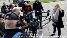 16-year-old girl Aava Murto speaks to the press in Helsinki, Finland, on October 7, 2020. - Aava Murto has taken over the job of Finnish PM Sanna Marin for the day as part of a girls' rights campaign. (Photo by Heikki Saukkomaa / Lehtikuva / AFP) / Finland OUT (Photo by HEIKKI SAUKKOMAA/Lehtikuva/AFP via Getty Images)