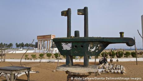 A model of an old ship on the coast of Ouidah, Benin