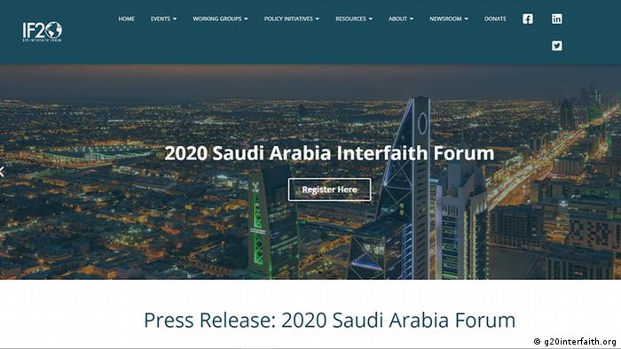Screenshot Website G20 Interfaith Forum, Riyadh, Saudi-Arabien