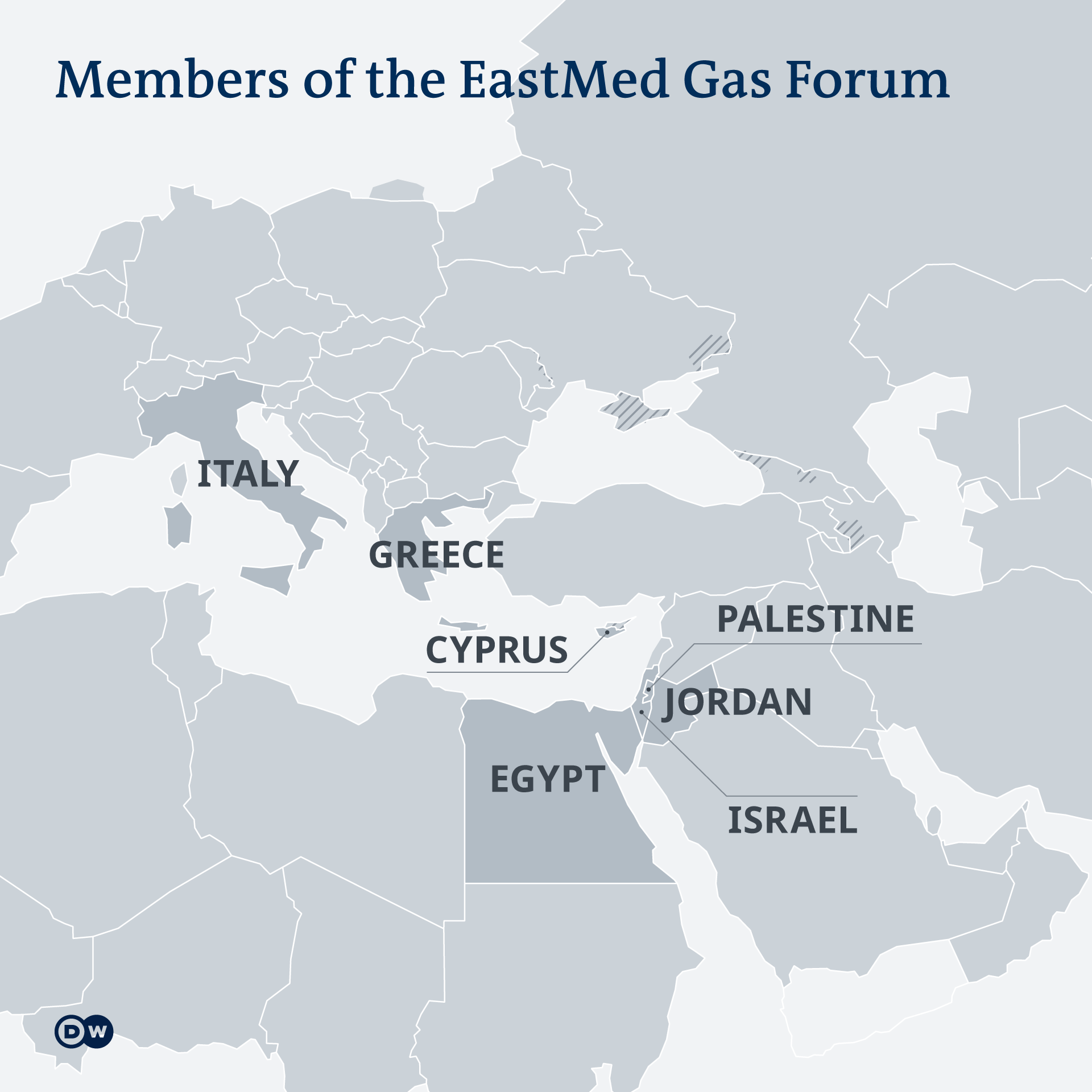 A map showing the members of the EastMed Gas Forum, including Italy, Palestine Territoy, Greece, Cyprus, Jordan, Egypt, Israel