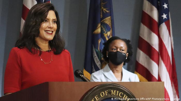 Gretchen Whitmer addresses the state during a speech in Lansing.