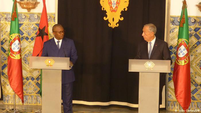 Umaro Sissoco Embaló (à esquerda), Presidente da Guiné-Bissau, e Marcelo Recebo de Sousa, Chefe de Estado português