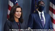 FILE - In this Wednesday, Sept. 2, 2020 file photo provided by the Michigan Office of the Governor, Gov. Gretchen Whitmer addresses the state during a speech in Lansing, Mich. Whitmer said Monday, Oct. 5, 2020, that a statewide mask requirement remains in effect despite the Michigan Supreme Court's invalidation of a law that underpins her orders to control the coronavirus pandemic. (Michigan Office of the Governor via AP, File) |