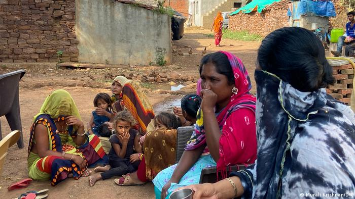 Women and young girls in Navali village in Madhya Pradesh state