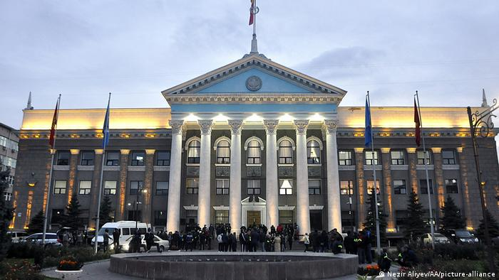 Protesters gather outside Kyrgyzstan'sparliamentbuilding