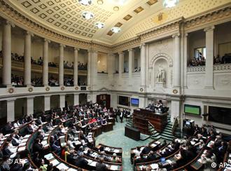 View of Belgian parliament in session