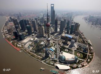 An aerial view shows the center of Shanghai city, the venue for the World Expo in China