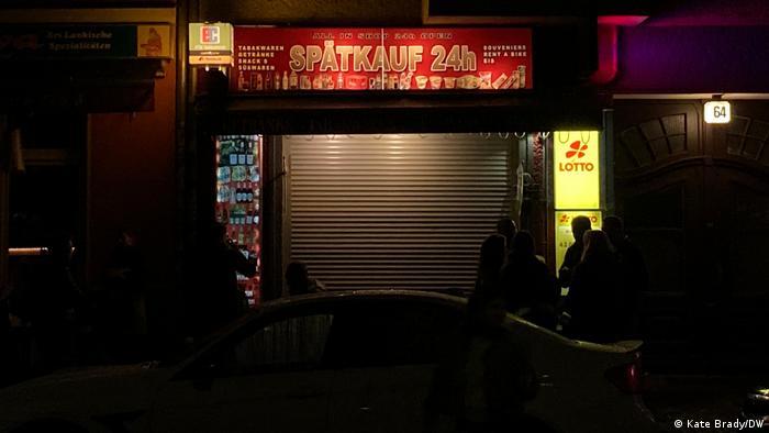 A shopfront in Berlin with a shut gate (Kate Brady/DW)