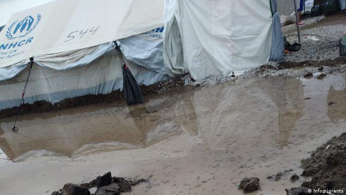 Large puddle at the Kara Tepe camp (Infomigrants)