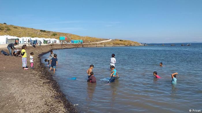 Children in the sea at the Kara Tepe camp Photo: Ahmad Shuaib Abawi