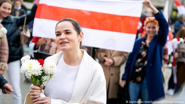 Svetlana Tikhanovskaya at a Belarusian opposition demonstration in Vilnius