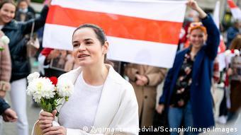 Светлана Тихановская на марше в Вильнюсе