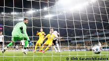 Soccer Football - UEFA Nations League - League A - Group 4 - Ukraine v Germany - NSC Olympiyskiy, Kyiv, Ukraine - October 10, 2020 Germany's Matthias Ginter scores their first goal REUTERS/Gleb Garanich