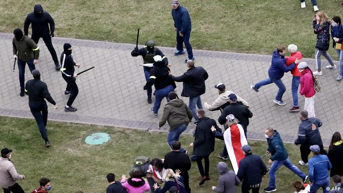 Police beat protesters in Belarus