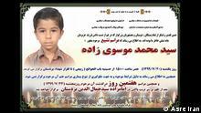 Iran Selbstmord l Schüler Mohammad Mousavizadeh