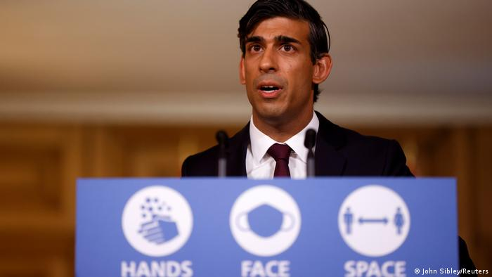 Britain's Chancellor of the Exchequer Rishi Sunak speaks during a virtual news conference