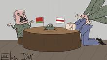 Karikatur von Sergey Elkin zu Das Gespräch zwischen Lukaschenko und inhaftierten belorussischen Oppositionellen.