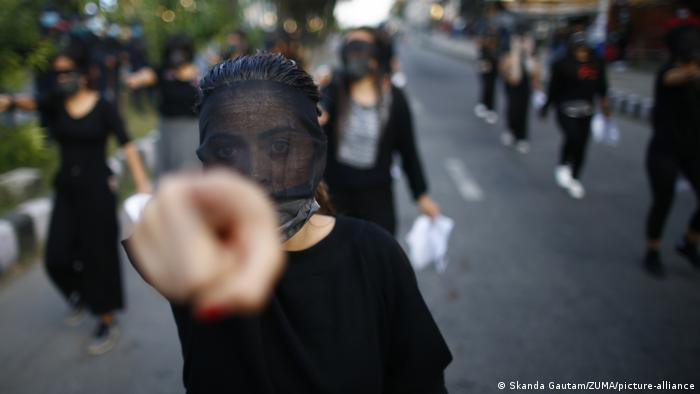 A an anti-rape protest in Kathmandu, October 2020