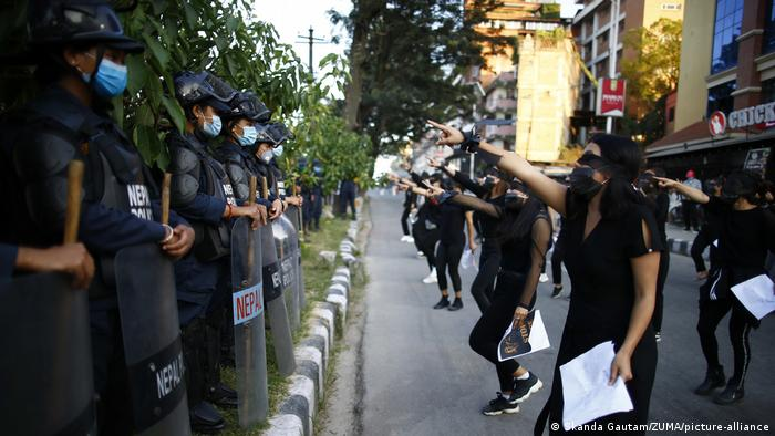 Women protesting on the streets of Kathmandu