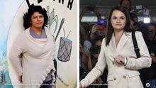 Bildkombo Berta Caceres Honduras und Sviatlana Tsikhanouskaya Belarus
