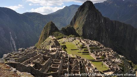 The ruins of the Inca city of Machu Picchu in Peru.