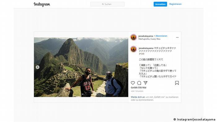 Print da postagem de Jesse Takayama no Instagram