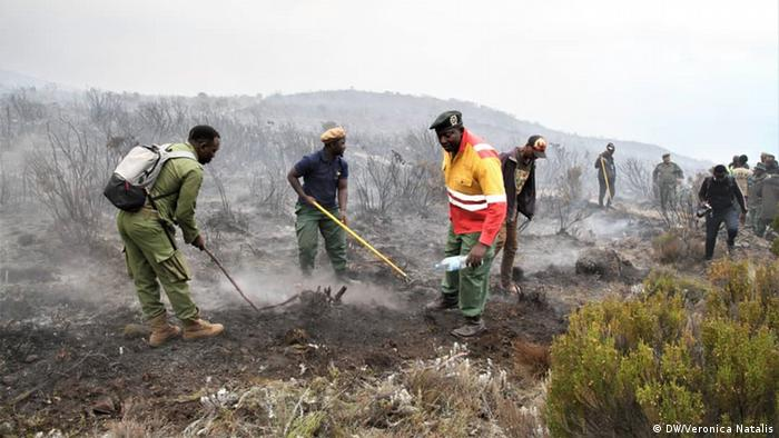 Firefighters battle to control the blaze on Kilimanjaro
