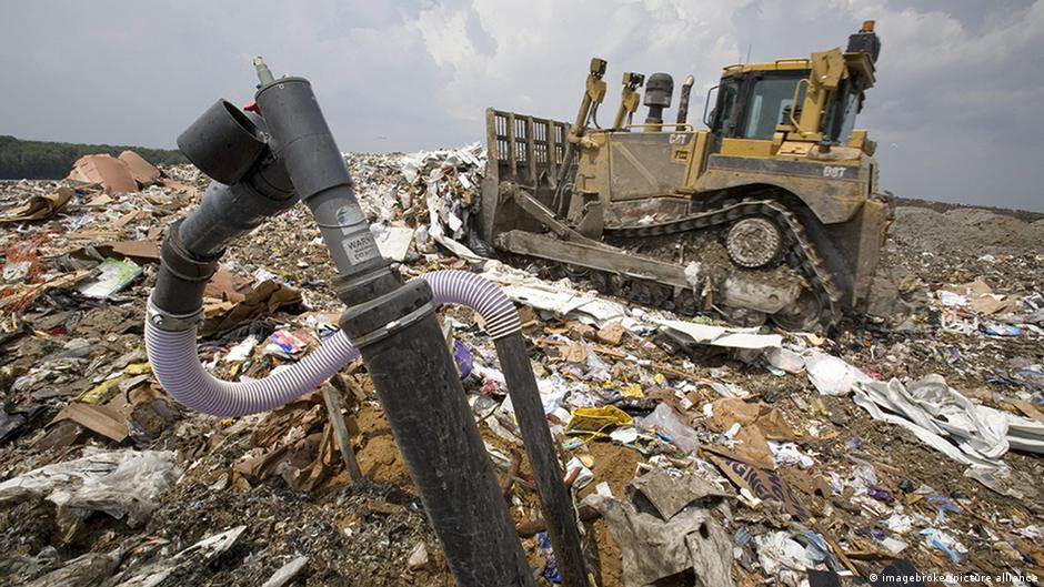 Heavy machinery pulls methane from a landfill in Marshall, Michigan, US