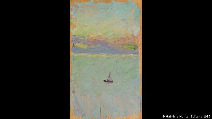 Auf Jawlenskys Gemäle verliert sich ein einsames Segelboot in der Weite des Meeres. (Gabriele Münter Stiftung 1957)