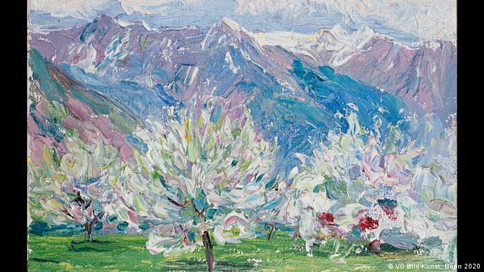 Gabriele Münters Gemälde von 1908 zeigt blühende Bäume vor einem Bergpanorama in Südtirol. (VG Bild-Kunst, Bonn 2020)