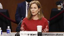 Supreme Court nominee Amy Coney Barrett testifies during her confirmation hearing before the Senate Judiciary Committee